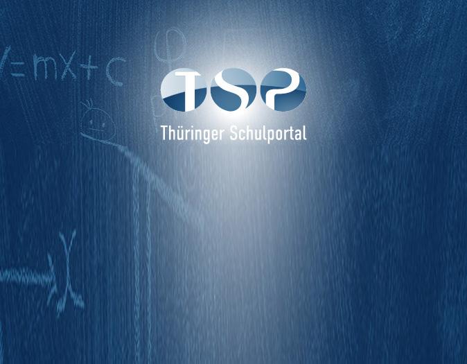 Logo Thüringer Schulportal vor einer blauen Tafel