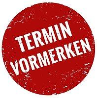 runde, rotes Logo mit weißer Schrift: Termin vormerken