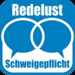 Das Bild zeigt das Logo des Podcasts Redelust und Schweigeplicht. Es sind neben dem Titel zwei Sprechblasen im Blau des Freistaates Thüringen zu sehen.